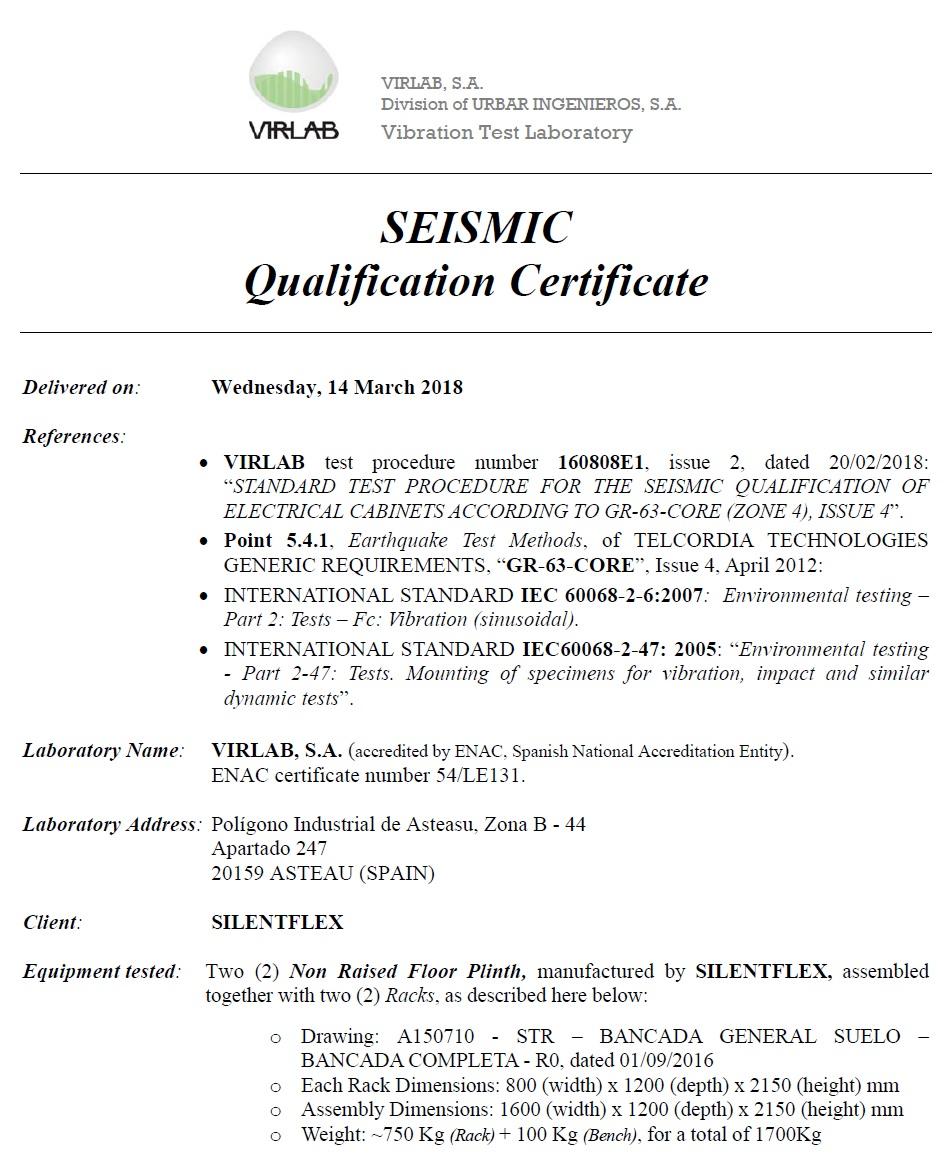 Zoe 4 Seismic Certification
